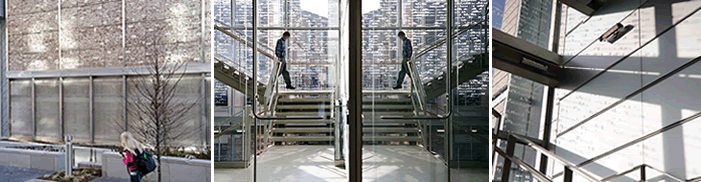 image of people walking down stairwell in building